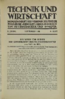 Technik und Wirtschaft : Monatsschrift des Vereines Deutscher Ingenieure, Jg. 3, H. 9
