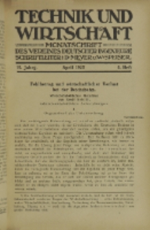 Technik und Wirtschaft : Monatsschrift des Vereines Deutscher Ingenieure, Jg. 15, H. 4