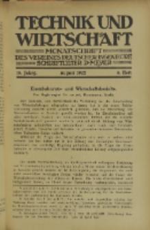 Technik und Wirtschaft : Monatsschrift des Vereines Deutscher Ingenieure, Jg. 15, H. 8