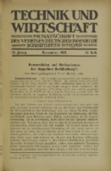 Technik und Wirtschaft : Monatsschrift des Vereines Deutscher Ingenieure, Jg. 15, H. 11
