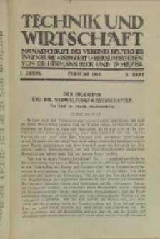 Technik und Wirtschaft : Monatsschrift des Vereines Deutscher Ingenieure, Jg. 1, H. 2
