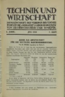 Technik und Wirtschaft : Monatsschrift des Vereines Deutscher Ingenieure, Jg. 1, H. 7