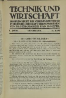 Technik und Wirtschaft : Monatsschrift des Vereines Deutscher Ingenieure, Jg. 1, H. 10