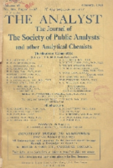 The Analyst : the journal of The Society of Public Analysts and other Analytical Chemists : a monthly journal devoted to the advancement of analytical chemistry. Vol. 69. No. 814