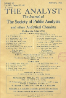 The Analyst : the journal of The Society of Public Analysts and other Analytical Chemists : a monthly journal devoted to the advancement of analytical chemistry. Vol. 69. No. 815