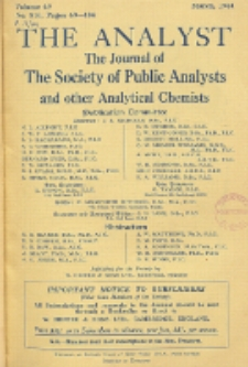 The Analyst : the journal of The Society of Public Analysts and other Analytical Chemists : a monthly journal devoted to the advancement of analytical chemistry. Vol. 69. No. 816