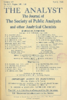 The Analyst : the journal of The Society of Public Analysts and other Analytical Chemists : a monthly journal devoted to the advancement of analytical chemistry. Vol. 69. No. 817