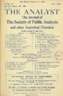 The Analyst : the journal of The Society of Public Analysts and other Analytical Chemists : a monthly journal devoted to the advancement of analytical chemistry. Vol. 69. No. 819