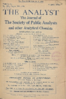 The Analyst : the journal of The Society of Public Analysts and other Analytical Chemists : a monthly journal devoted to the advancement of analytical chemistry. Vol. 69. No. 821