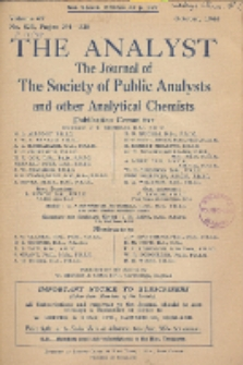 The Analyst : the journal of The Society of Public Analysts and other Analytical Chemists : a monthly journal devoted to the advancement of analytical chemistry. Vol. 69. No. 823