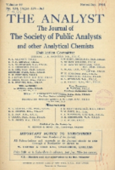 The Analyst : the journal of The Society of Public Analysts and other Analytical Chemists : a monthly journal devoted to the advancement of analytical chemistry. Vol. 69. No. 824