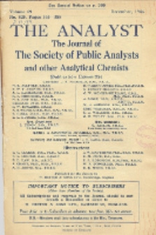 The Analyst : the journal of The Society of Public Analysts and other Analytical Chemists : a monthly journal devoted to the advancement of analytical chemistry. Vol. 69. No. 825