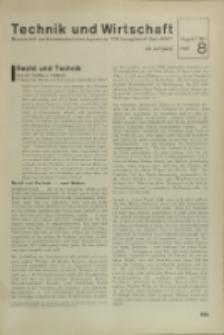 Technik und Wirtschaft : Monatsschrift des Vereines Deutscher Ingenieure, Jg. 24, H. 8