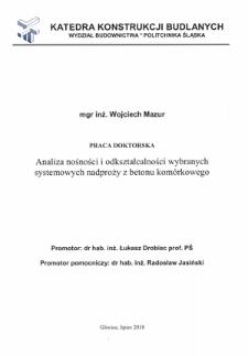 Recenzja rozprawy doktorskiej mgra inż. Wojciecha Mazura pt. Analiza nośności i odkształcalności wybranych systemowych nadproży z betonu komórkowego