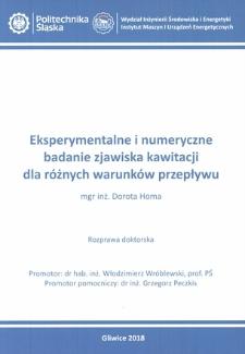 Recenzja rozprawy doktorskiej mgr inż. Doroty Homy pt. Eksperymentalne i numeryczne badanie zjawiska kawitacji dla różnych warunków przepływu