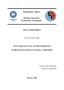 Wytwarzanie gazu generatorowego w procesie zgazowania węgla i odpadów