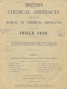 British Chemical Abstracts. Index of Subjects 1929. Abstracts A and B