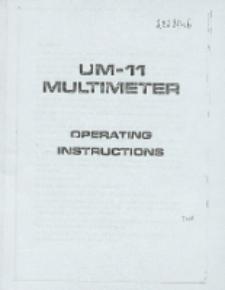 UM-11 Multimeter : operating instructiions