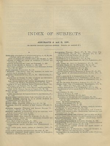 British Chemical Abstracts. Index of Subjects 1930. Abstracts A and B