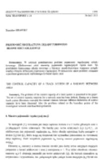 Pojemność regulacyjna układu torowego rejonu sieci kolejowej