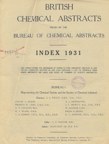 British Chemical Abstracts. Index of Subjects 1931. Abstracts A and B