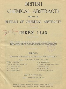 British Chemical Abstracts. Index of Subjects 1933. Abstracts A and B