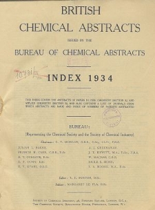 British Chemical Abstracts. Abstracts A and B. Index 1934, Index of Subjects