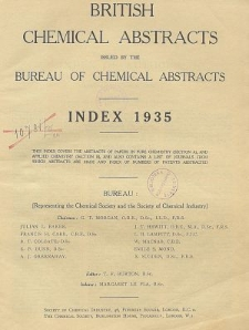 British Chemical Abstracts. Abstracts A and B. Index 1935, Index of Subjects