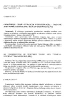 Określenie czasu otwarcia wtryskiwacza i badanie sprawności termicznej silnika gazowego (LPG)