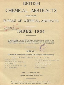 British Chemical Abstracts. Abstracts A and B. Index 1936, Index of Subjects