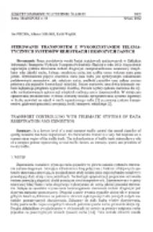 Sterowanie transportem z wykorzystaniem telematrycznych systemów rejestracji i ekspozycji danych