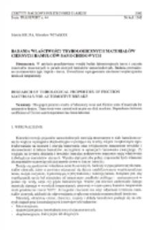 Badania właściwości trybologicznych materiałów ciernych hamulców samochodowych