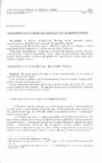 Determinanty regionalnej polityki transportowej