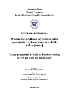 Recenzja rozprawy doktorskiej mgra inż. Michała Krzysztoforskiego pt. Właściwości użytkowe szynoprzewodów spawanych z wykorzystaniem techniki mikro-jetowej