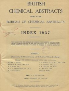 British Chemical Abstracts. Abstracts A and B. Index 1937, Index of Subjects