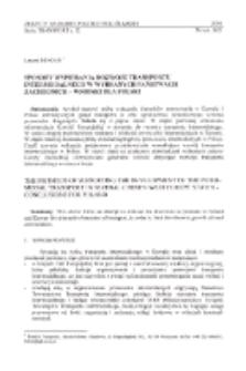 Sposoby wspierania rozwoju transportu intermodalnego w wybranych państwach zachodnich - wnioski dla Polski