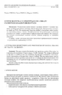 System rejestracji i przetwarzania obrazu cyfrowego zdarzeń drogowych