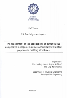 The assessment of the applicability of cementitious composites incorporating electrochemically exfoliated graphene in building structures