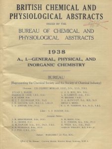 British Chemical and Physiological Abstracts. A. Pure Chemistry and Physiology. I. General, Physical, and Inorganic Chemistry, April