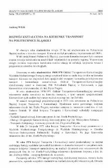 Rozwój kształcenia na kierunku transport na Politechnice Śląskiej
