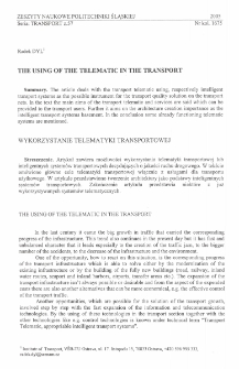 The using of the telematic in the transport