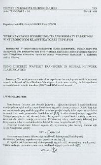 Wykorzystanie dyskretnej transformaty falkowej w neuronowym klasyfikatorze typu SVM