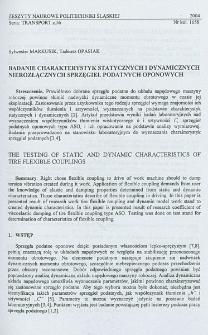 Badanie charakterystyk statycznych i dynamicznych nierozłącznych sprzęgieł podatnych oponowych