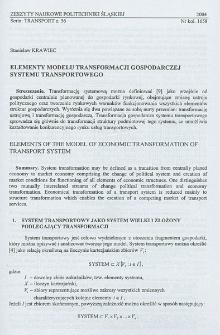Elementy modelu transformacji gospodarczej systemu transportowego