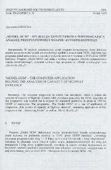 """""""Model HCM"""" - aplikacja komputerowa wspomagająca analizę przepustowości wjazdu autostradowego"""