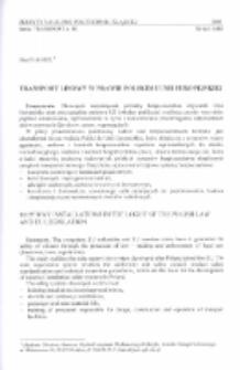 Transport linowy w prawie polskim i Unii Europejskiej