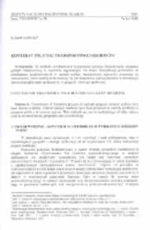 Kontekst polityki transportowej regionów
