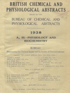 British Chemical and Physiological Abstracts. Abstracts A. Index 1939, Journals from which abstracts are made