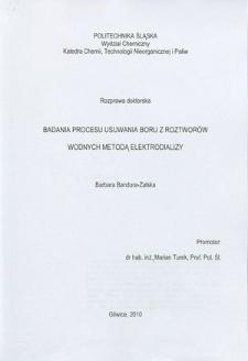 Recenzja rozprawy doktorskiej mgr inż. Barbary Bandury-Zalskiej pt. Badania procesu usuwania boru z roztworów wodnych metodą elektrodializy
