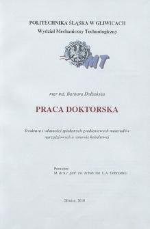 Recenzja rozprawy doktorskiej mgr inż. Barbary Dołżańskiej pt. Struktura i własności spiekanych gradientowych materiałów narzędziowych o osnowie kobaltowej
